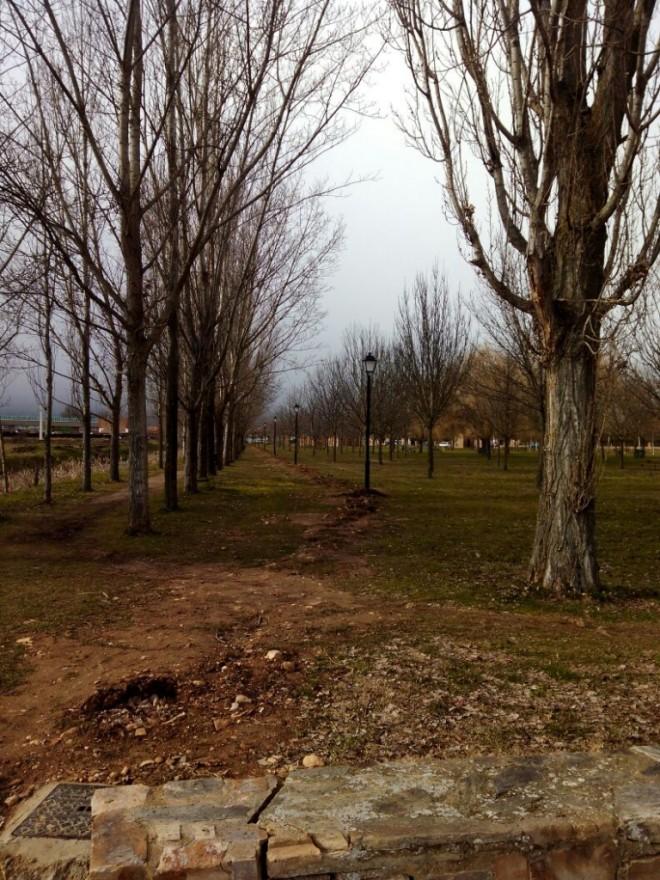 Parque de la Eragudina con nuevas farolas y parte del camino levantado (Peyuca)
